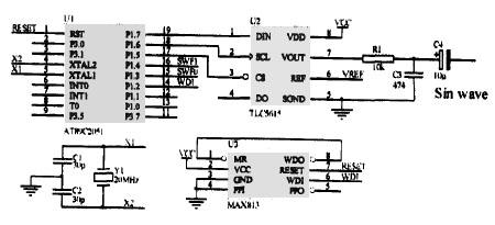 设计参考 > 正文   1 硬件电路     图1为倍频正弦波信号发生电路,u2