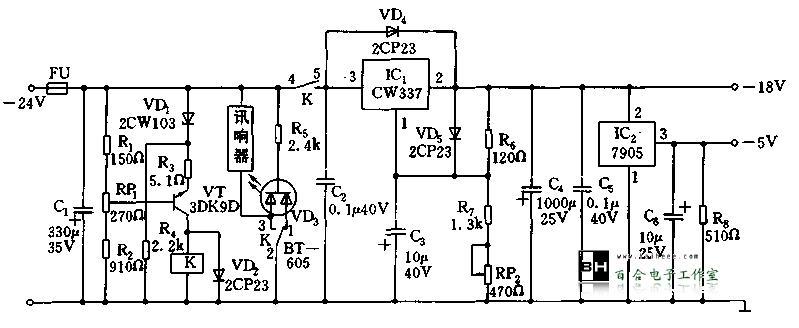 直流电源时,电源通过分压电路r6