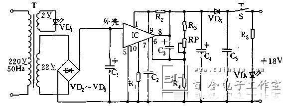 型稳压电源,电阻r2为限流电阻
