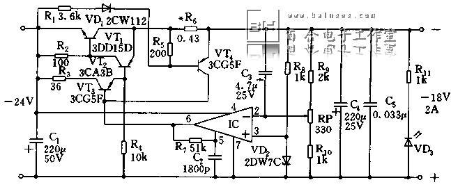 此电路是采用运算放大器的串联型稳压电路