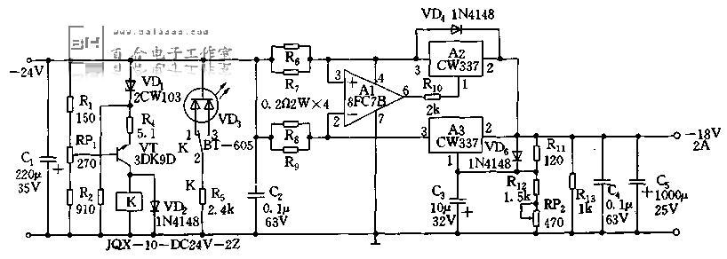 稳压二极管并联稳压电路图