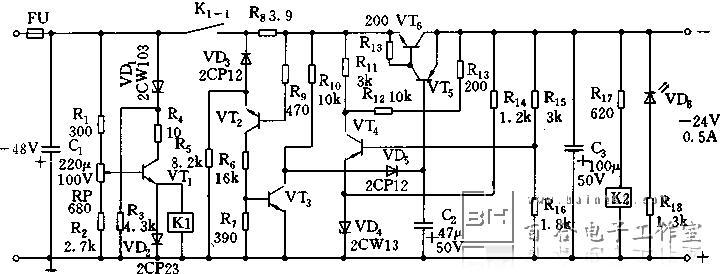 在输出-24v检出电压由分压电路r16,r17上取出,加到三极管vt4,稳压管