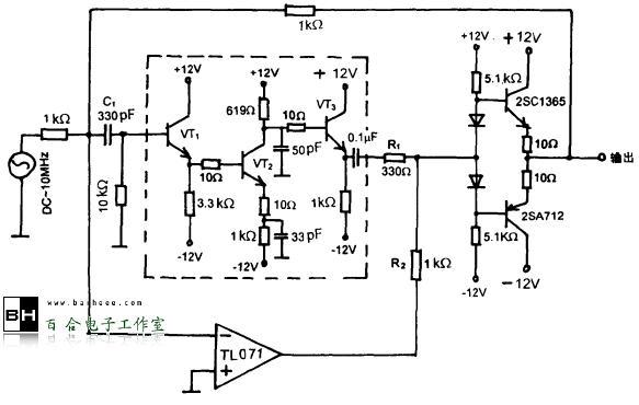 晶体管与运放构成的宽带通用放大器电路