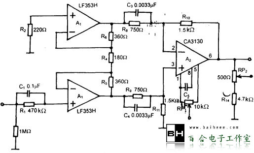 图1所示是由U430和运放1437构成的宽带放大器电路。电路中R1和R2采用金属膜电阻,为了获得精确的放大器增益,要选用偏差值为1%的电阻,放大器增益A为:   图1 U430和运放1437构成的宽带放大量电路   RPl为调零电位器,C1为反馈补偿电容。放大器的上升时间τr与放大器的截止频率f之间的关系为:  式中:τr的单位为us;f的单位为MHz。   根据电路参数,τr为700ns。根据1437的开环增益特性,增益为40 dB,C1为15pF时,截止频率为500kHz。