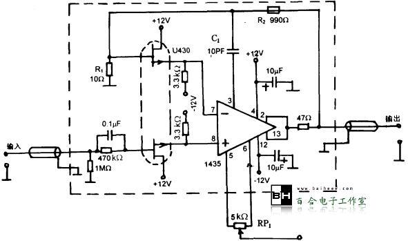运放构成的宽带放大器电路