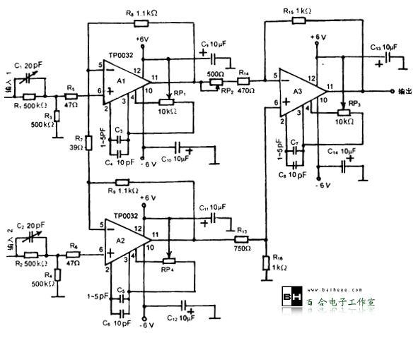 运放构成的宽带仪用放大器电路