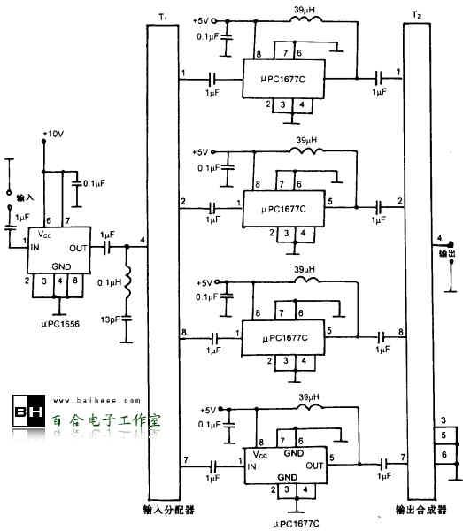 下图所示为差动定向耦合型RF放大器,可把1kHz~300MHz的高频信号放大到+22dB(50Ω)的电乎。应用于输出放大器、高电平混频器的驱动放大器等。RF放大器的频带为1MHz~300MHz,输出电平为+22dB(50Ω),增益为+40dB(±3dB),谐波失真率为-40 dB以下。  差动定向耦合型RF放大器   电路中,T1为输入分配器,T2为输出合成器,采用差动定向耦合变压器PD-6。μPC1656/1677是单片集成高频放大器。通常,300 MHz
