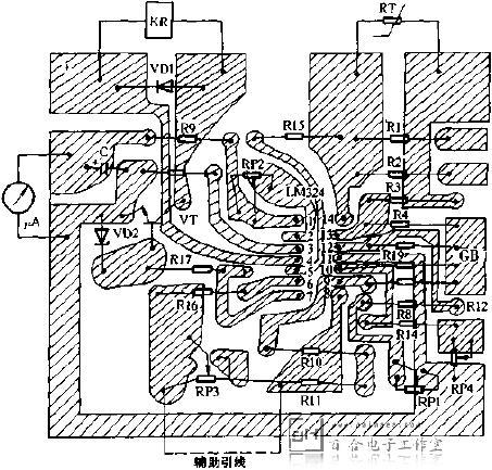 图3是温度控制器的印制电路板