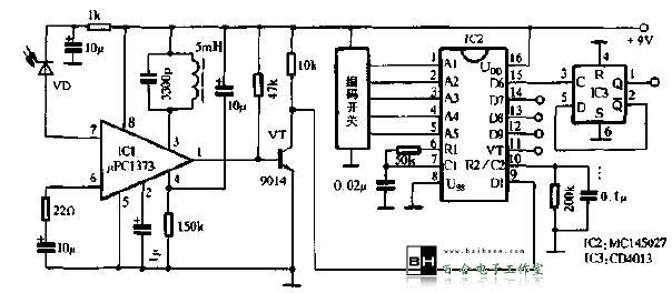 该遥控器采用专用遥控编译码IC,性能稳定、抗干扰性强。发射电路如图1所示,编码IC1型号为MC145026,其管脚A1~A5是地址输人,可以接1、0或开路,因此最多可编35=243种码;D6~D9是4位数据输人,每一位可编成1、0两种状态;TE是发送控制端,接低电平时开始发送;地址、数据编码由D0端串行输出,以脉冲的宽窄不同来代表1、0或开路,如图2所示。RTC、CTC、RS端外接阻容元件,决定时钟振荡器频率。IC2组成40kHz脉冲振荡器,驱动红外VD9发射红外线,作为遥控载体,但IC2的振荡受控于