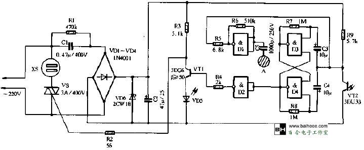 该光控、触摸式多用开关插座结构小巧,使用十分方便。具体使用时,只需将所用电器插在该插座上,即可方便地利用普通手电筒或其它红外线遥控开关。对各种家用电器,如电视机、电风扇、收录机、洗衣机或电灯等进行开关控制,也可利用插座上的触摸片进行触摸开关控制。这对于没有遥控功能的各种家用电器,实行遥控开关是十分有用的。 电路工作原理   电路原理图如图1所示。本电路的控制部分仅用一块CMOS二输人端四与非门电路CD4011构成,其中以D1和R5、R6构成模拟放大电路。这是一种数字电路的模拟应用,当由感当片A来的人体