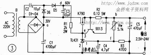 一款采用tl431的大电流可调稳压电源电路分析
