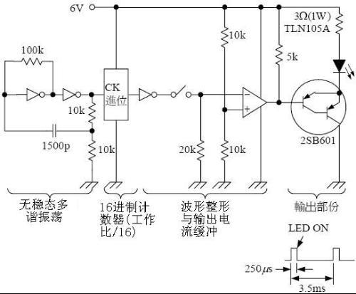 图4(a)所示光敏二极管组成的光信号放大电路,图4(b)光控开关